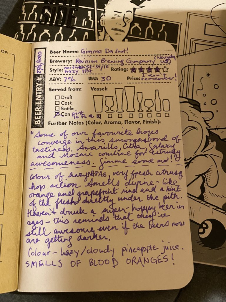 handwritten beer tasting notes in purple ink in a pocket-sized notebook on top of a zine